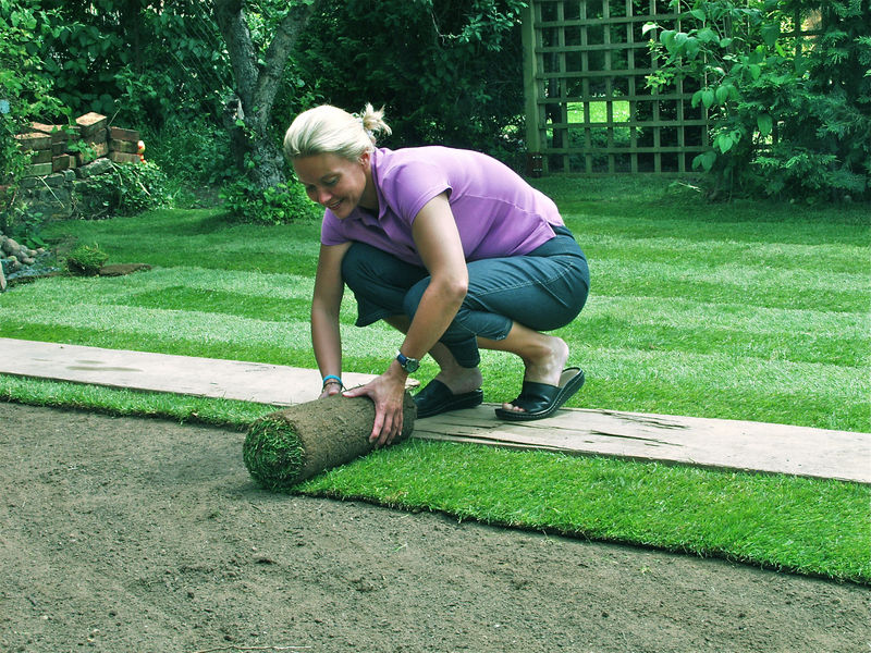 Laying the turf for Prato inglese a rotoli